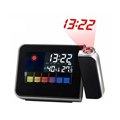 LCD Screen LED Projection Alarm Clock/ Weather Station Clock with Colorful LED Backlit