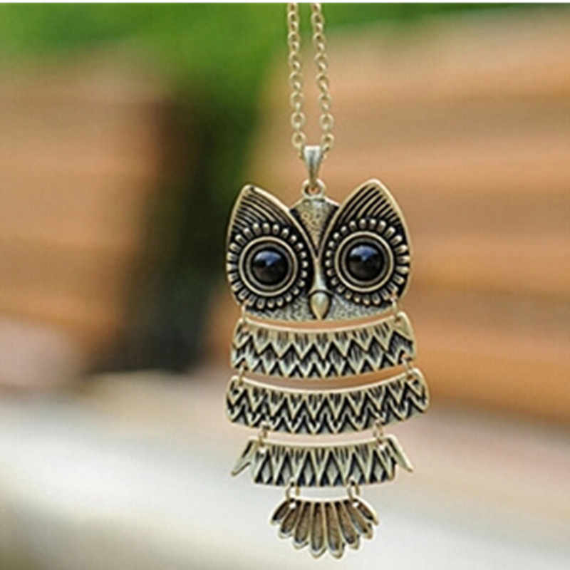 x293 Hot 1 Piece Free Shipping Fashion Jewelry Antique Bronze Owl Pendant Necklaces For Women Vintage Long Sweater Accessories