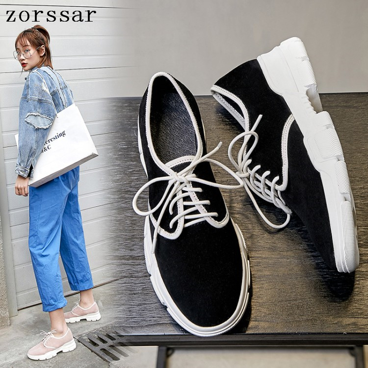 Zorssar 2019 Spring women flats   leather     suede   platform sneakers women shoes ladies casual lace up flats creepers moccasins