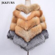 2019 New Big Genuine Fur Cape Women Thick Warm Fur Gold Real Red Fox Fur Fashion Silver Fox Shawl Luxury Style Fur Poncho S7485