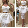 Vestidos De Baile Sexy Sweetheart Neck Lace Prom Dresses Fashionable 2017 New Fsshion Tea-Length Mermaid White Prom Dress