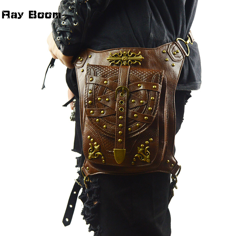 Ray Boom Fashion Brand Design Personality Steampunk Men Bag Shoulder Bag Vintage Rivet Waist Bags Multi-function Leg Bag 2018