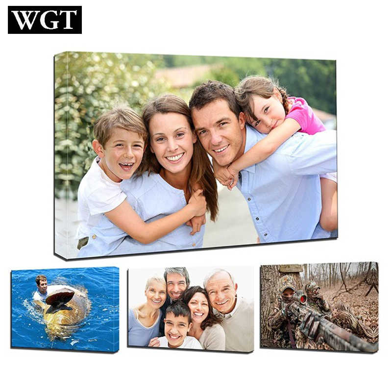 WGT Customized Prints Poster on Canvas Painting Wall Art Custom Your Portrait Wedding Family Children Photos Home Decor