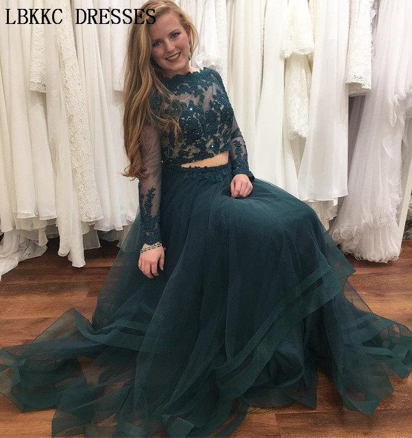 af5c17598f3 Long Sleeve Two Pieces Prom Dresses 2019 Elegant Lace Appliques Prom Dress  Gala Jurk Long Formal Women Evening Party Dresses