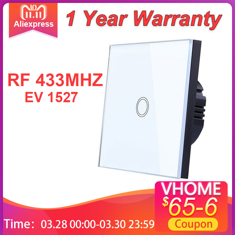 Vhome Touch Switch 433mhz Smart Home Touch Switch Panel EV1527 EU UK US Standard Wifi Control