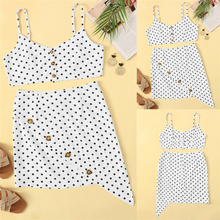 Fashion Women's Two-Piece Sexy Polka Dot Crop Top Sling and Mini Button Mini Skirt Set