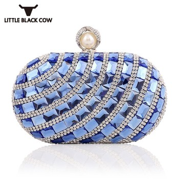 Bling Diamonds Evening Party Clutch Bag Women Oval Pearl Hasp Elegant Ladies Handbag Fashion Chain Shoulder Bags Golden - discount item  40% OFF Women's Handbags
