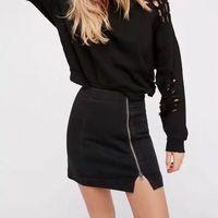 European New Fashion Women High Waist Office Lady Side Zipper Skirts Female Saia Falda A Line