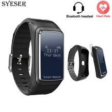 Получить скидку Syeser 2017 b7 Смарт часы гарнитура Bluetooth наушники пульсометр Спорт Фитнес трекер Браслет VS xio Mi band 2