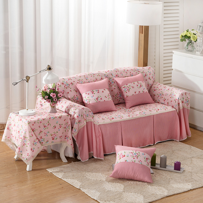 Light pink flowers sofa cover single double three four seat sofa cover  Korean style shaped slipcovers for home decor anti-static - Pink Sectional Sofa Promotion-Shop For Promotional Pink Sectional
