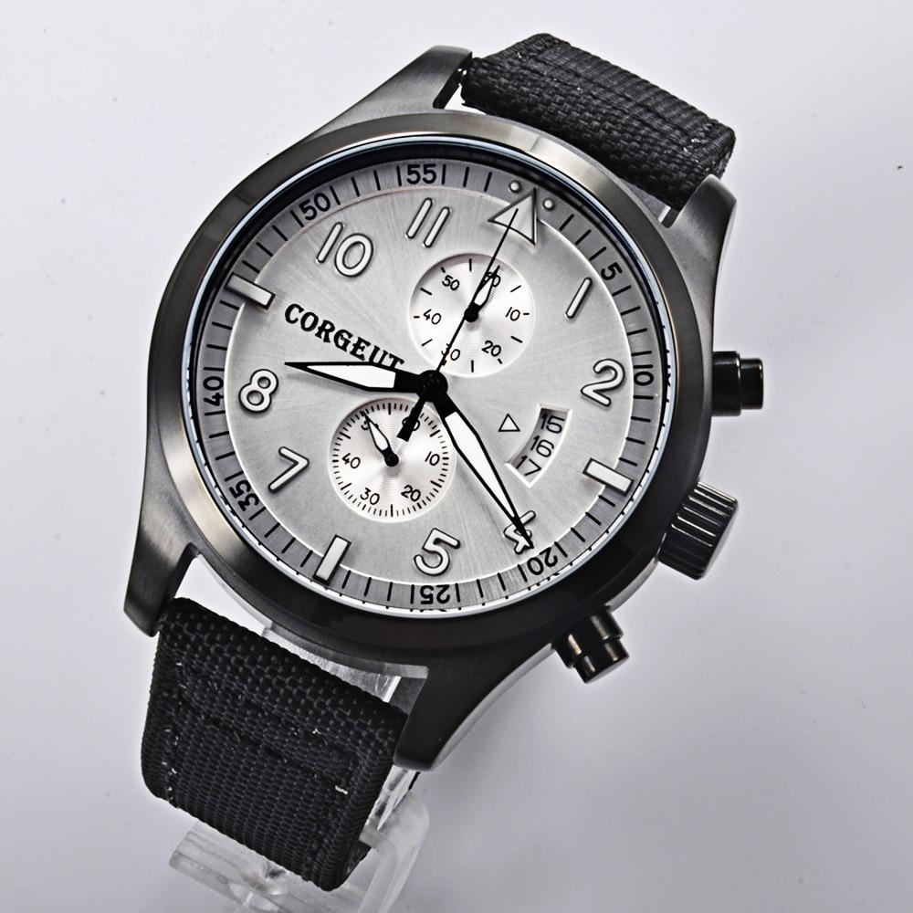 Corgeut 46mm white dial PVD Case Full date Chronograph quartz men wrist watch все цены