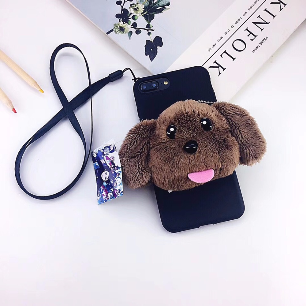 Luxury Case Cover for iphone7 7Plus x 8 8 6 6s Plus fur fluffy warm Casing Full Housing Etui Girl female Pocket Case Rope Bag