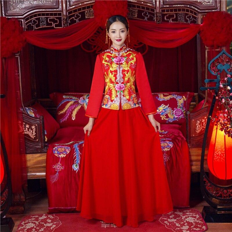 Dragon chinois & Phoenix robe de mariée mariage Cheongsam classique Toast vêtements scène spectacle Costumes nobles robes longues 3XL