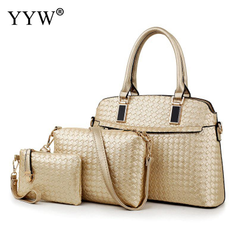 3 PCS/Set Gold PU Leather Handbags Women Bag Set Brands Tote Bag Lady's Shoulder Crossbody Bags Clutch Bag Womens'Pouch 5 Colors
