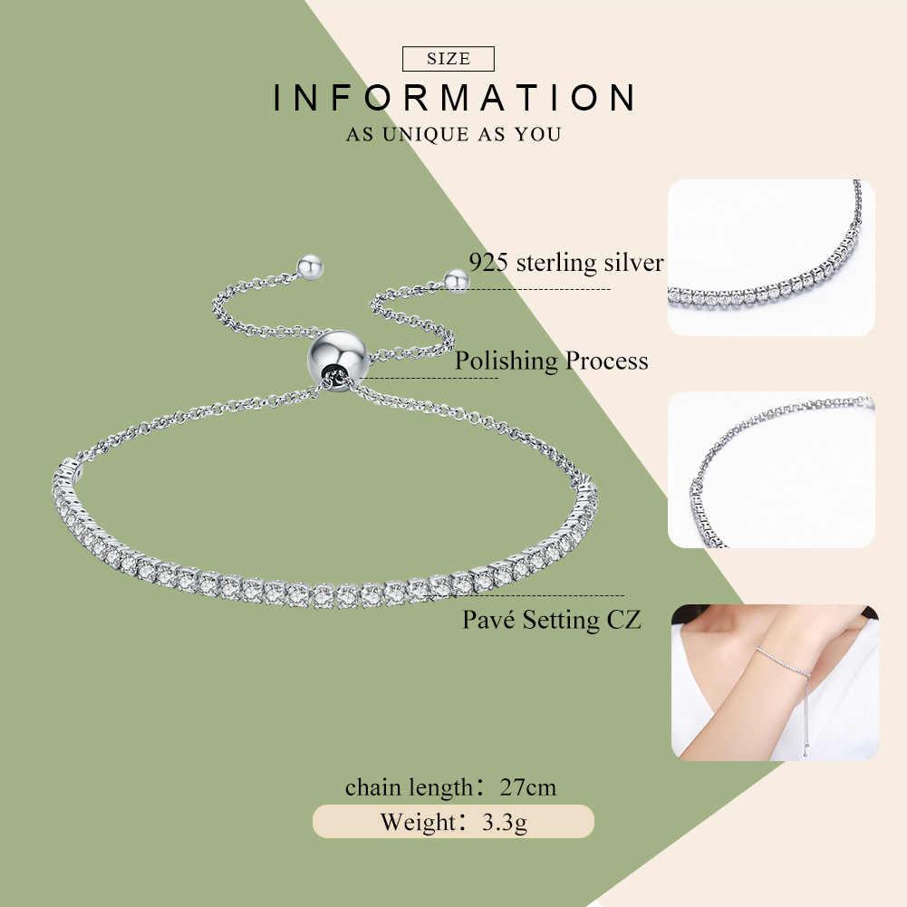 BAMOER en vedette marque offres 925 en argent Sterling étincelant brin Bracelet femmes lien Tennis Bracelet bijoux en argent SCB029