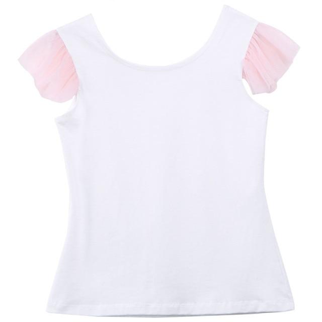 2020 Lovely Short Sleeve T-shirt TuTu Skirt 2pcs Mother Daughter Dresses Cotton Summer Clothes Family Kids Parent Child Outfits 5