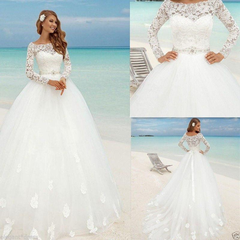 Elegant Long Sleeve Wedding Gowns: Elegant Lace Tulle Ball Gown Wedding Dresses 2019 Vestido