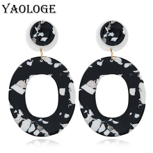 YAOLOGE Acrylic Earrings Personality Oval Hollow Bohemian Style Vintage Statement For Women Dangler Fashion Gifts Jewelry New