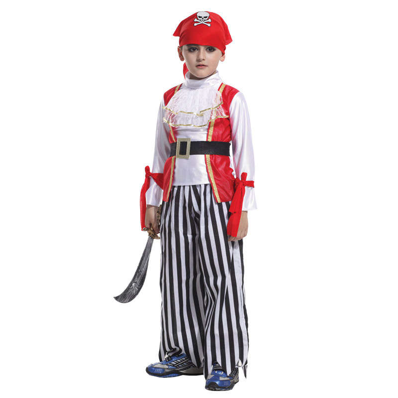 VASHEJIANG Kids Pirate King Costume Children's Superman Zorro Batman Captain America Cosplay Costumes for Halloween Party