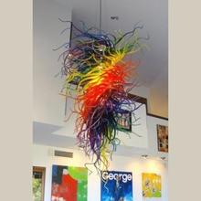 Multi Colored Hand Blown Murano Glass Modern Art Hanging LED Christmas Decor Chandelier
