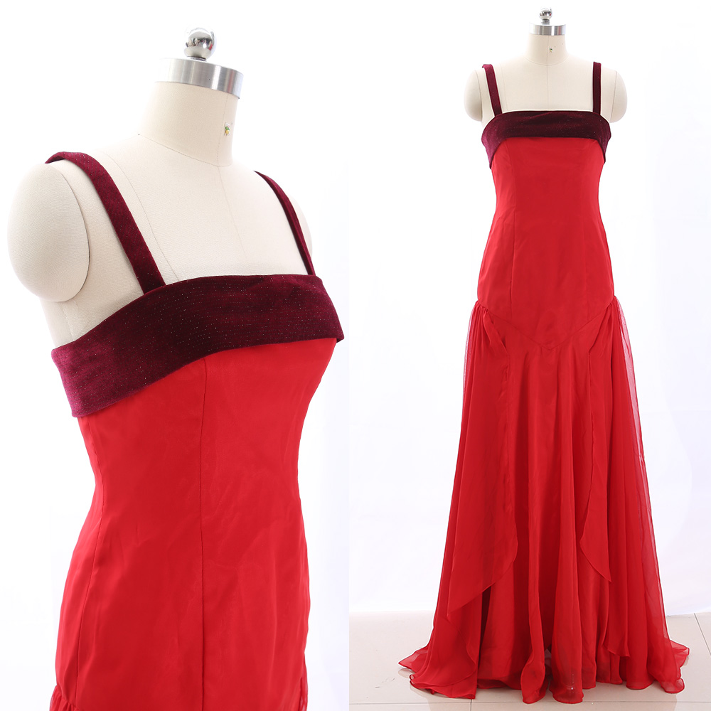 MACloth Red 0 Strap Floor-Length Long Crystal Chiffon   Prom     Dresses     Dress   M 265491 Clearance