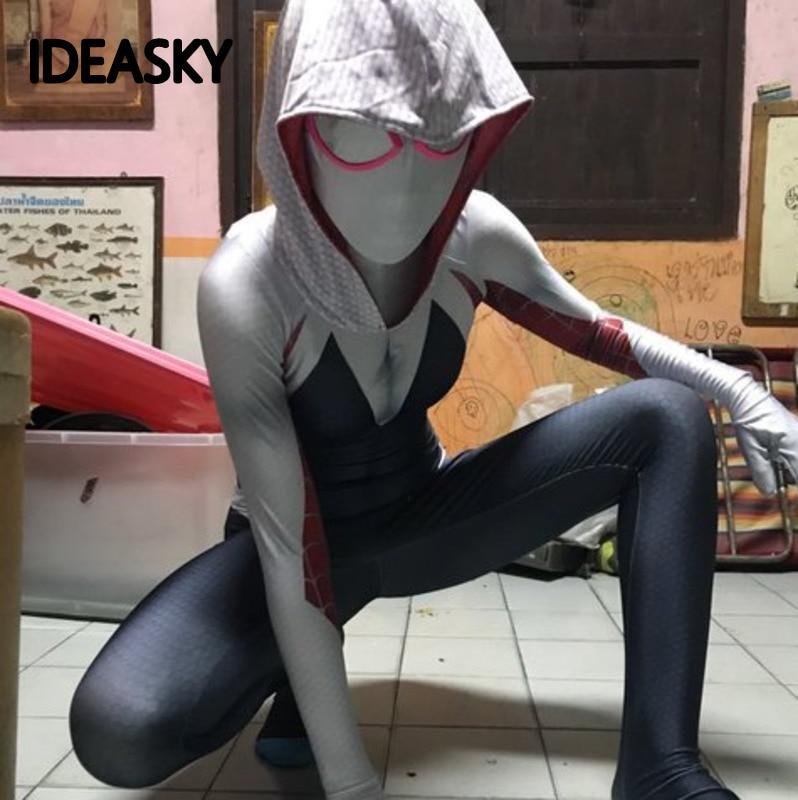 Spiderman Superhero Spider-gwen Spider Gwen Venom Stacy Cosplay Costume Spidergwen Zentai Suit Mask Halloween Kids Adult Women