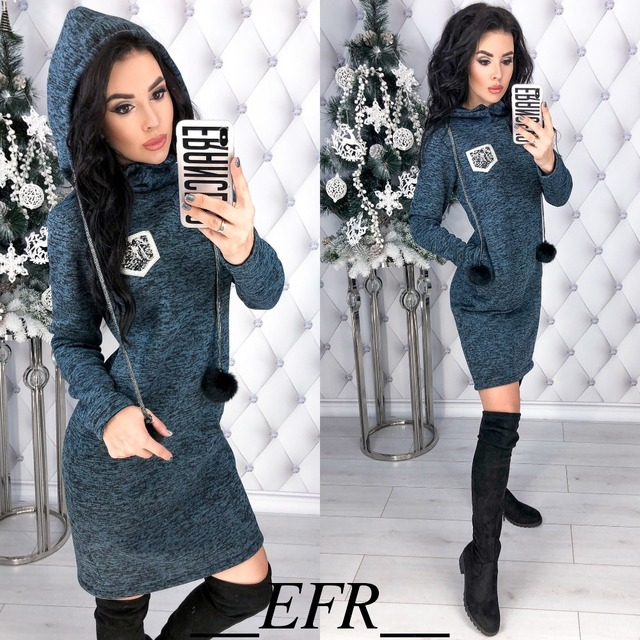 Autumn Winter New Colored cotton Women Dress Hairball Long Sleeve Straight Pockets Hooded Dresses Plus Size Warm Mini Vestidos 1