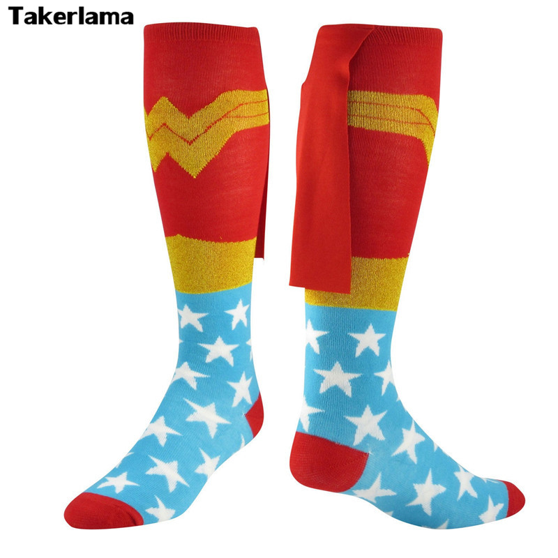 Takerlama DC Comics Wonder Woman Cape Knee-High Socks Stockings Red Blue - Knit on Cape  ...