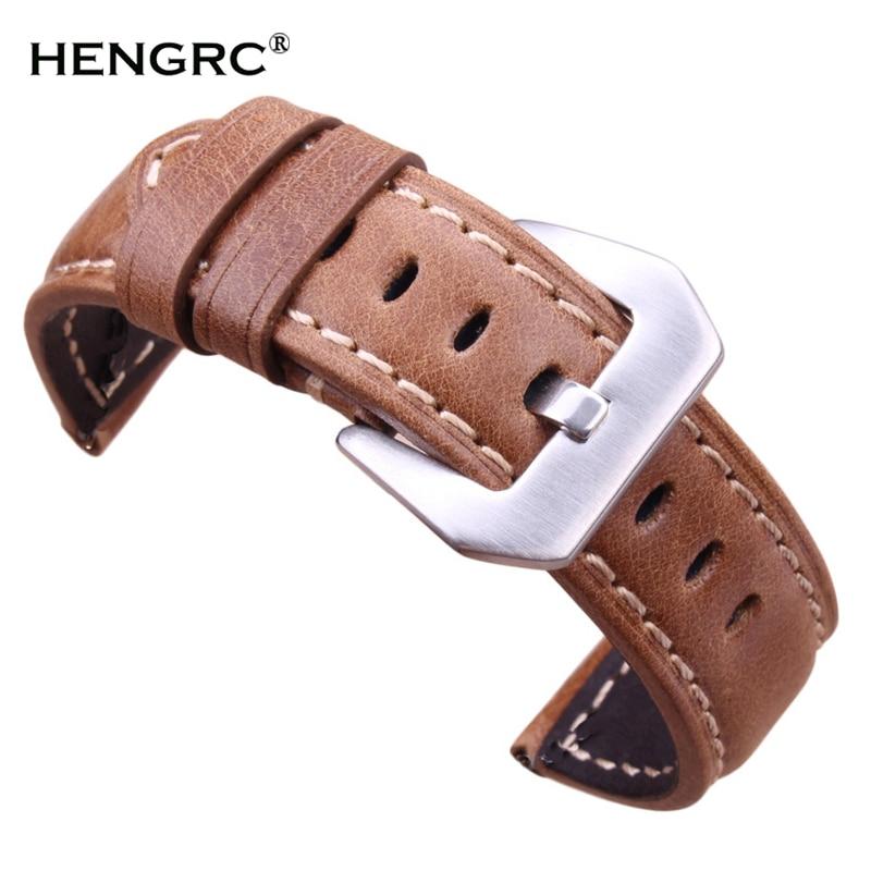 Reloj Retro genuino cuero marrón hombres 20mm 22mm 24mm suave correa de reloj banda de Metal Pin hebilla Accesorios relojes Hombre 2016