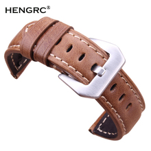 Retro Genuine Leather Watchbands Brown Men 20 22 24mm Soft Watch Band Strap Metal Pin Buckle Accessories Relojes Hombre 2016 все цены