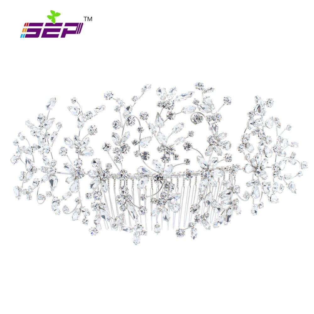 Classic Clear Crystals Rhinestone Big Bridal Wedding Headbands Hair Combs Women Pageant Hair Jewelry Headpiece 2160621R
