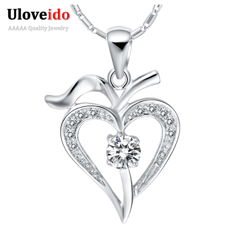 Crystal Necklace Women Heart White/Purple 925 Sterling Silver Necklaces Pendants Neckless Gift Colares Femininos Ulove N639
