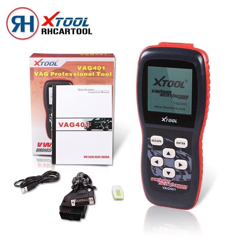 Цена за 2017 автомобилей детектор Оригинал XTOOL VAG401 OBD2 Диагностический Сканер Для VW/Audi/Skoda/Seat VAG 401 OBDII Code Reader Обновить онлайн