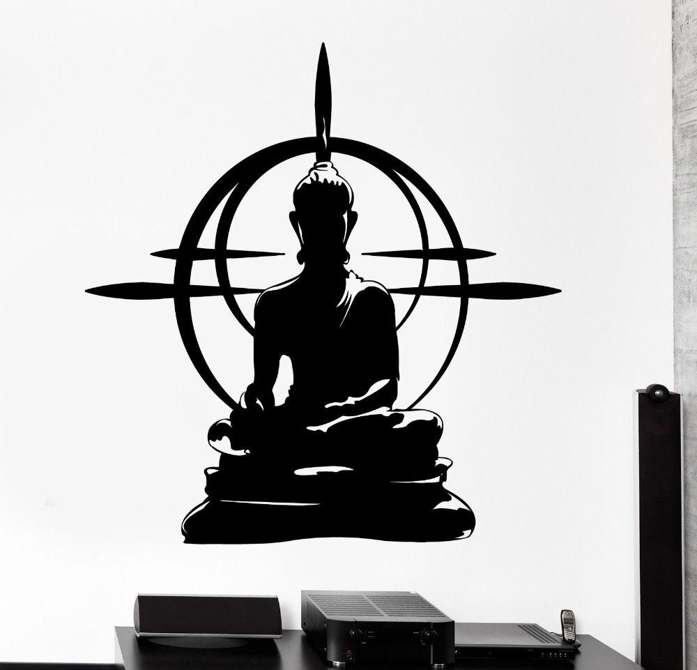 Buddhism Vinyl Wall Sticker Buddha Chakra Mandala Mantra Chakra Meditation Yoga Art Wall Decal Sticker Room Home Decoration