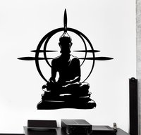 Buddhism Vinyl Wall Sticker Buddha Chakra Mandala Mantra Chakra Meditation Yoga Art Wall Decal Sticker Room Home Decoration