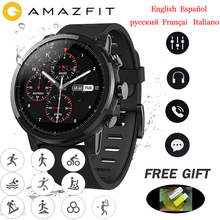 Global Version Amazfit Stratos smart Watch men 5ATM Waterproof blutooth music Huami pace 2 GPS SportsWatch swimming цена и фото