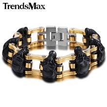 Trendsmax 18mm/22mm Boys Mens Friendship Chain Skulls Link Biker Motorcycle Link 316L Stainless Steel Bracelet HBM66