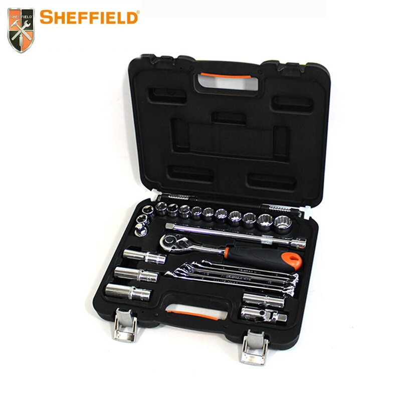 SHEFFIELD 25 pcs Tool Set Kit 12.5mm drive standard 6pt Socket drive Ratchet wrenches, wrench adaptor, hardware tools set box 46pcs socket set 1 4 drive ratchet wrench spanner multifunctional combination household tool kit car repair tools set
