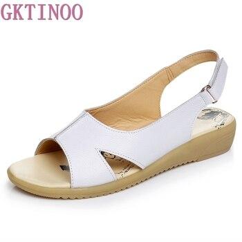 цены GKTINOO Summer Genuine Leather Women Sandals Comfortable Ladies Shoes Gladiator Sandal Women Female Flat Sandals Fashion Shoe