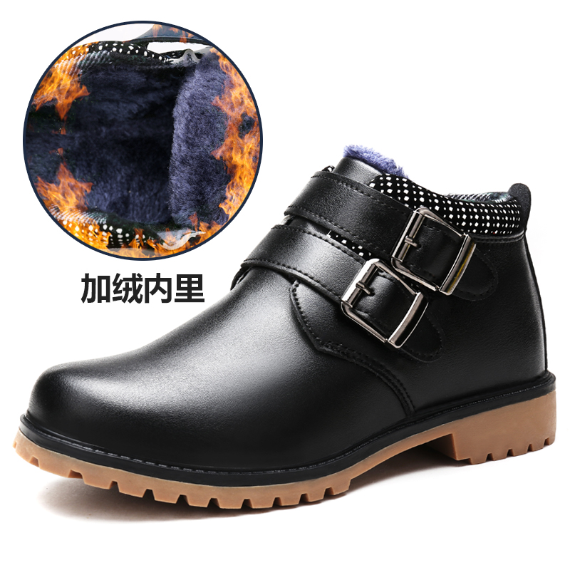 2017 New Children Snow Boots Baby Ankle Boot Kids Shoes For Boys Thick Plush Bow High Top Boy Shoe Male Winter Genuine Leather uovo baby girls snow boots 2017 new faux fur plush kids high boots glitters children shoes soft sole winter boots for toddlers