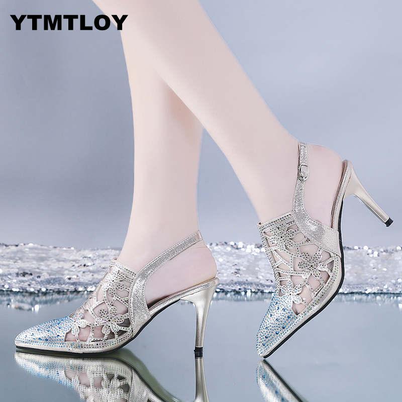 HOT Spring Sexy Pumps Fashion Rhinestones Diamond Beaded Super High Thin Heeled Pointed Toe Slingbacks Women Shoes  Gold