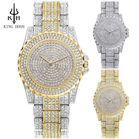 KING HOON Top Brand Silver Luxury Women Dress Watch Rhinestone Ceramic Crystal Quartz Watches Magic Women