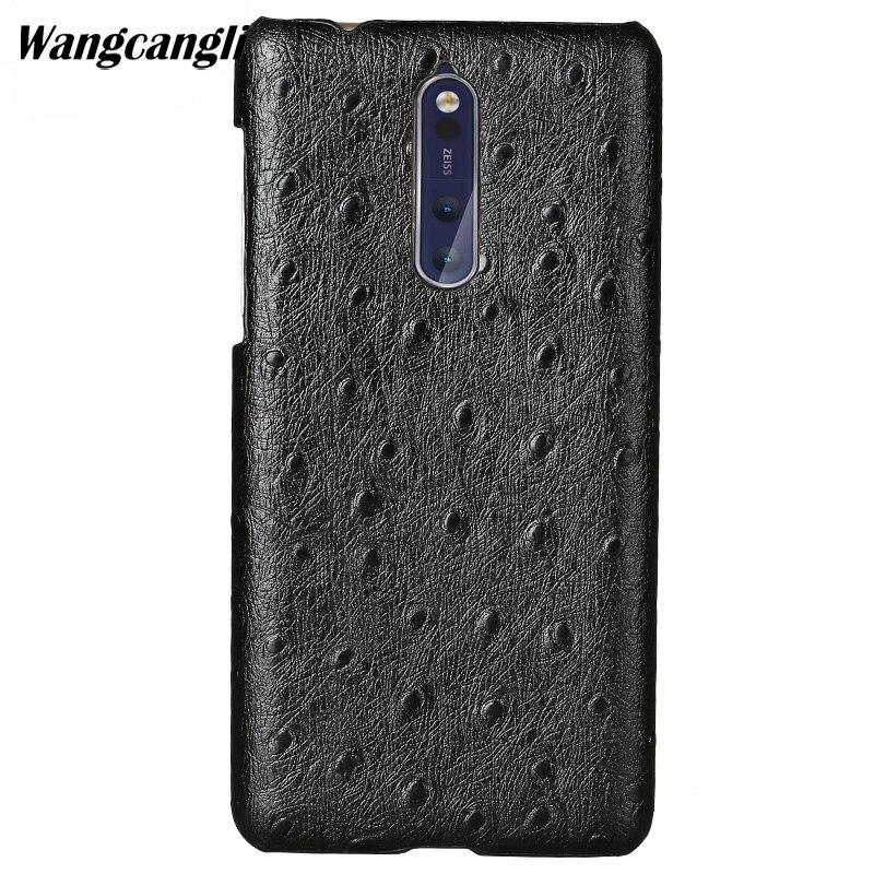 Wangcangli personnalisé en cuir véritable coque de téléphone pour Nokia X6 autruche Texture demi-pack coque de téléphone coque de téléphone