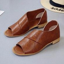 2019 New Fashion Womens Sandals Summer Platform Shoes Peep Toe Leather Beach Flat Casual Sandalias Mujer Plus Size Yasilaiya