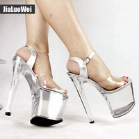 8 Inch High Heel Platform Sandals Womens Sandals Stilettos Open Toe Platform High Heels Strap Buckle