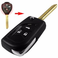 5ps Modified Folding 2015 3 Buttons Remote Uncut Black Flip Car Styling Key Shell Without Battery