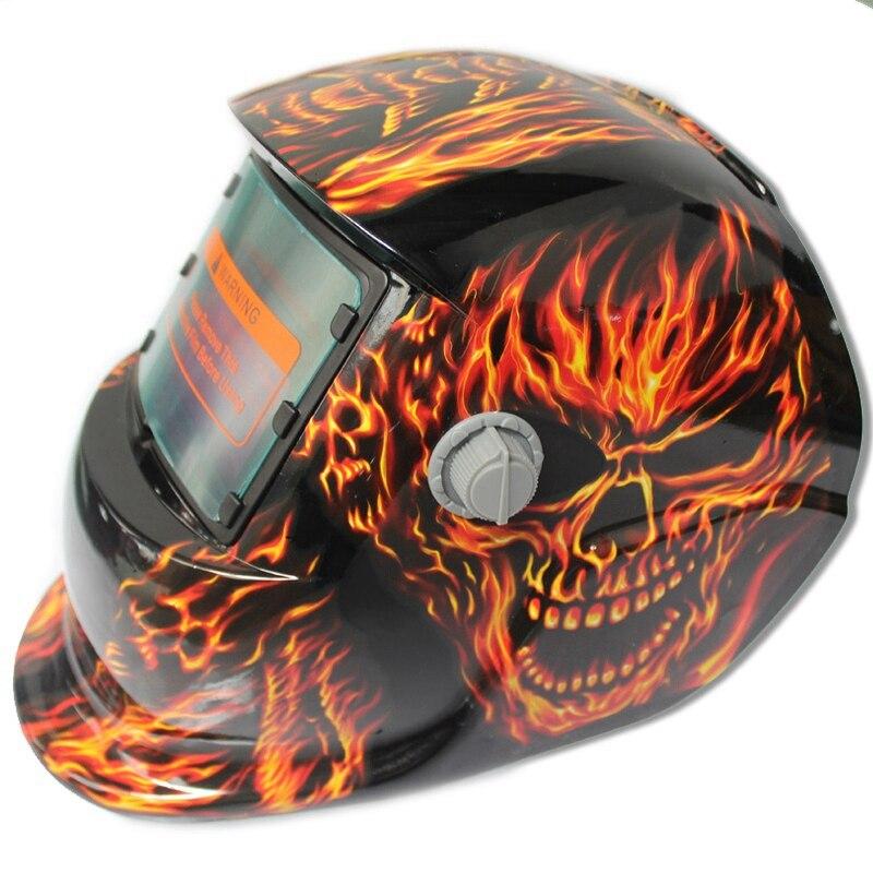 2018 New Pro Solar Welder Mask Auto-Darkening Welding Helmet Fiery red Skull