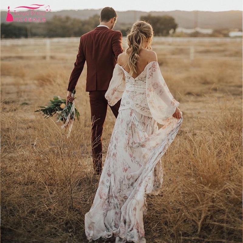Ultimate Bohemian Fantasy Whimsical Charm Wedding Dresses floral pattern Bride Gown Full Breezy Skirt Boho Noiva
