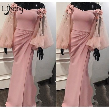 Blush Pink 3D Flower Mermaid Evening Dresses 2018 Sexy Evening Gowns High Side Split Puffy Full Sleeves Abiye Vestido De Festa