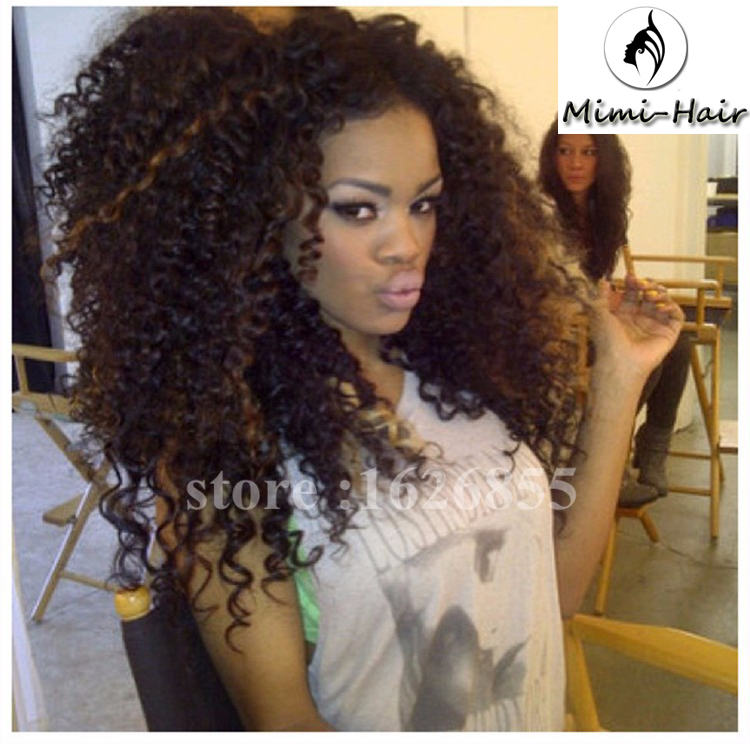 Mimihair Ombre Natural Black Highlight Synthetic Lace Front Curly